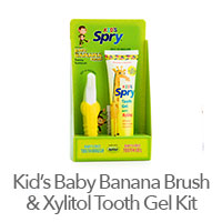Spry Kid's Baby Banana Brush Kit with Xylitol Tooth Gel