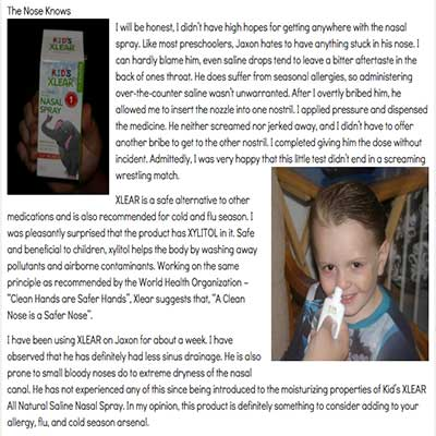Review of Xlear Kids saline nasal spray with xylitol